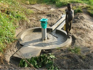Amaji well after completion - northern Uganda