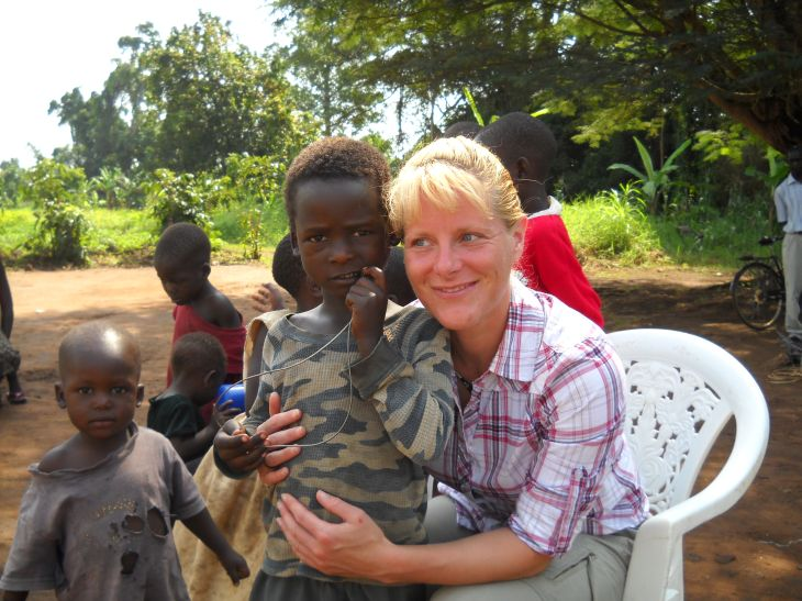 Jeanne volunteers in Northern Uganda Africa providing safe drinking water to those in need